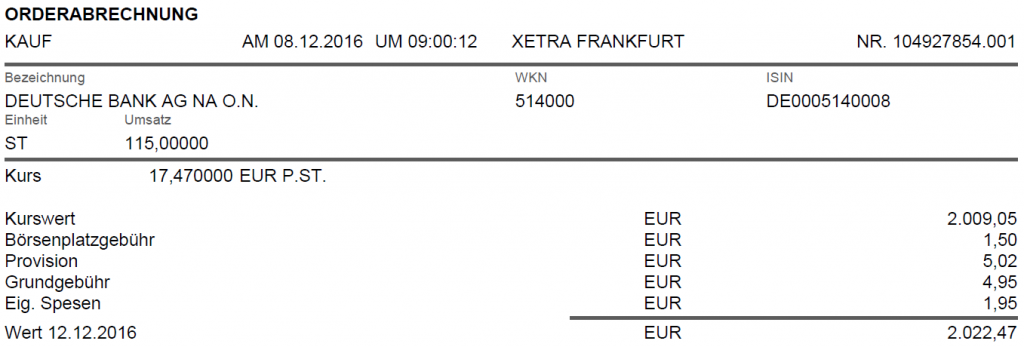 Kauf Deutsche Bank